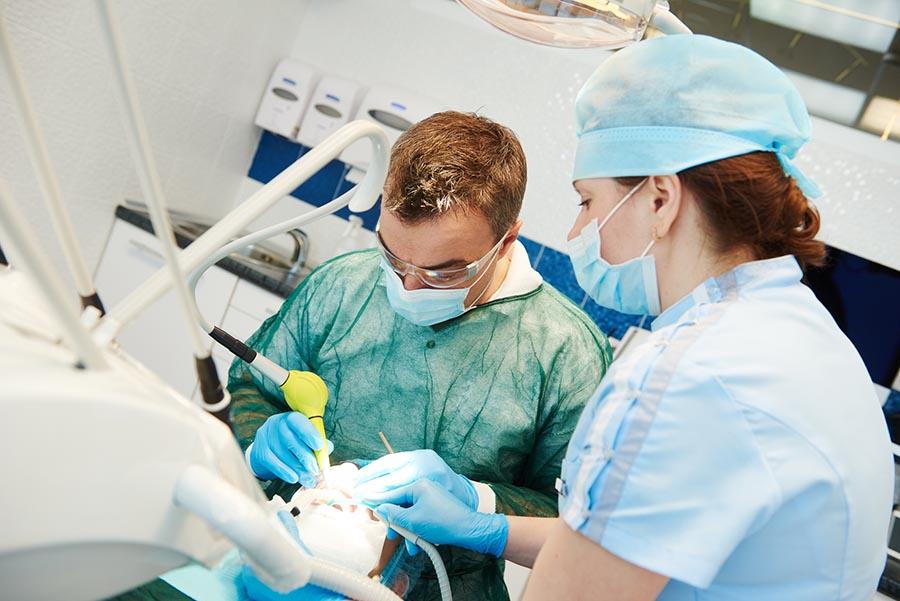 A patient receiving emergency dental care in St. Louis Park.
