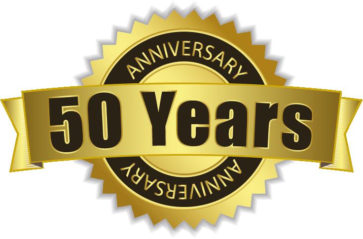 Badge of 50 years anniversary.