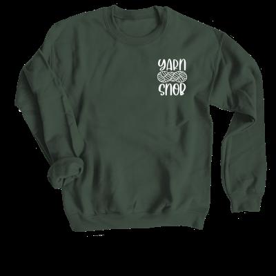 Yarn Snob Pink Sheep Design Merch, a forest green crewneck sweatshirt