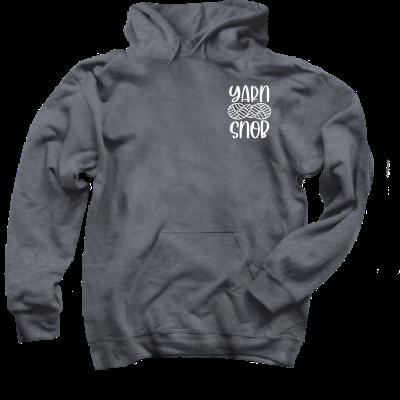 Yarn Snob Pink Sheep Design Merch, a dark heather grey pullover hoodie
