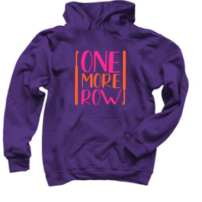 One More Row Brights Pink Sheep Design merch, a purple Pullover Hoodie