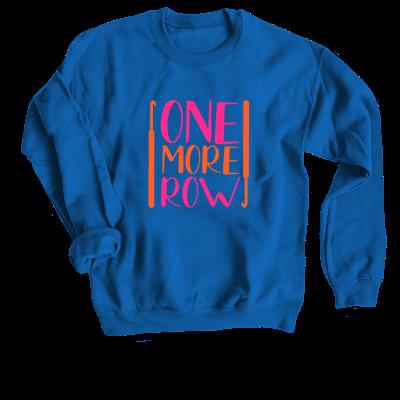 One More Row Brights Pink Sheep Design merch, a royal blue Crewneck Sweatshirt