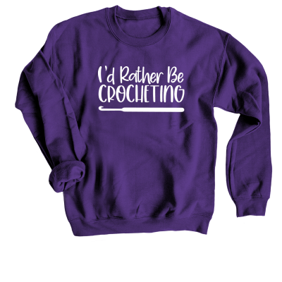 I'd rather be crocheting Pink Sheep Design Merch, a purple crewneck Sweatshirt