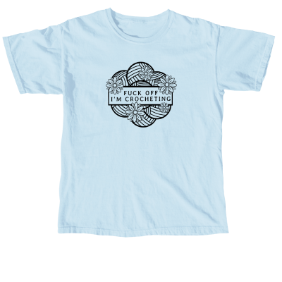 F-Off I'm Crocheting Outline Pink Sheep Design Merch, a chambray Comfort Colors unisex Tee