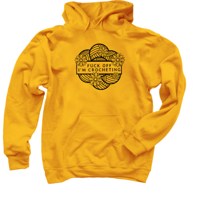 F-Off I'm Crocheting Outline Pink Sheep Design Merch, a Gold Pullover Hoodie