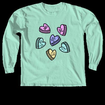 My Love Language Pink Sheep Design Merch, a seafoam Comfort Colors Long Sleeve Tee