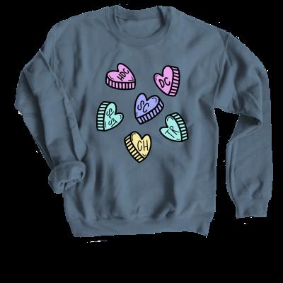 My Love Language Pink Sheep Design Merch, an Indigo Crewneck Sweatshirt