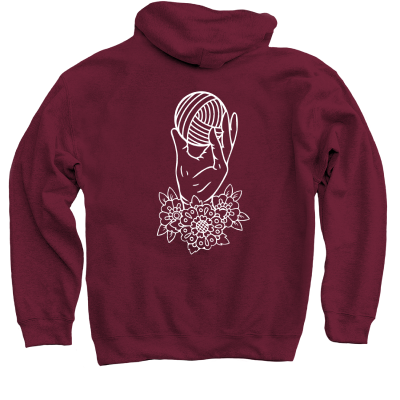 Yarn Hoarders Anonymous Pink Sheep Design Merch, a Maroon Pullover Hoodie