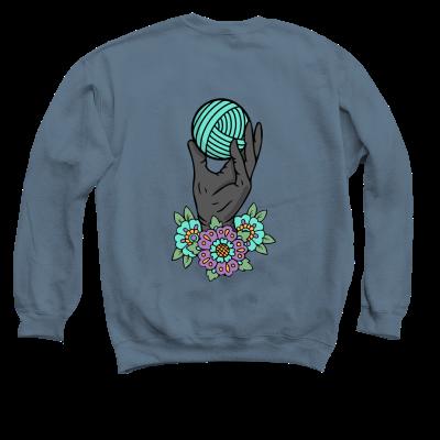 Yarn Hoarders Anonymous Pink Sheep Design Merch, an indigo crewneck sweatshirt