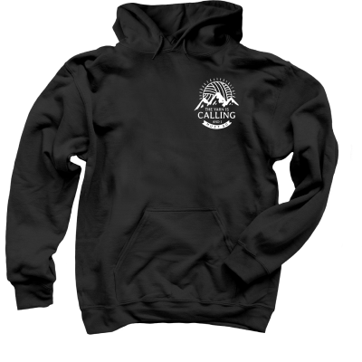 The Yarn is Calling Pink Sheep Design Merch, a black Pullover Hoodie