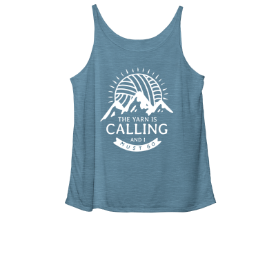 The Yarn is Calling Pink Sheep Design Merch, a deep heather teal Women's slouchy tank top