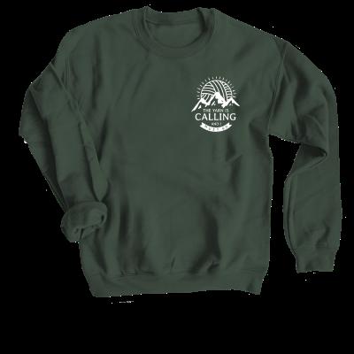 The Yarn is Calling Pink Sheep Design Merch, a forest green crewneck sweatshirt