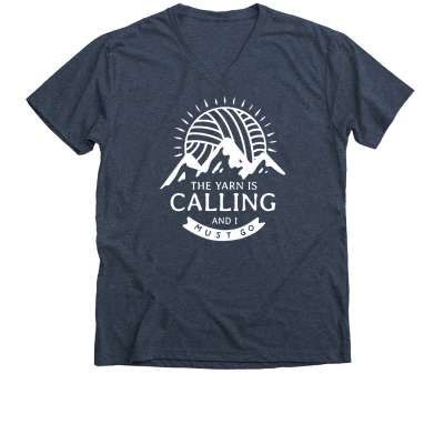 The Yarn is Calling Pink Sheep Design Merch, a mignight navy V-Neck Unisex Tee