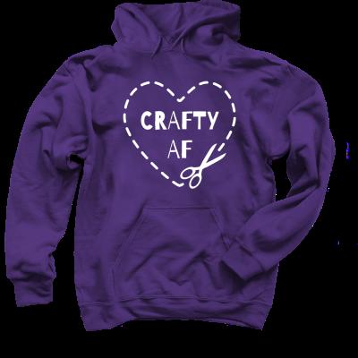 Crafty AF Pink Sheep Design merch, a purple Pullover Hoodie