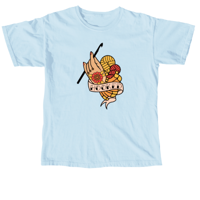 Hooked Pink Sheep Design Merch, a chambray blue Comfort Colors Unisex Tee