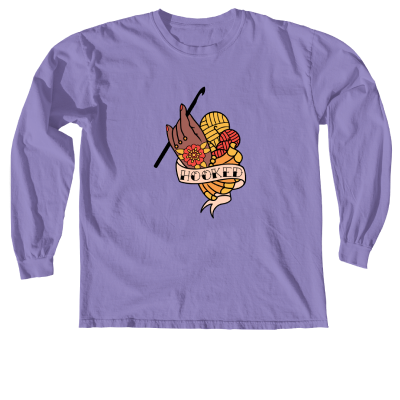 Hooked Pink Sheep Design Merch, a violet Comfort Colors Long Sleeve Tee