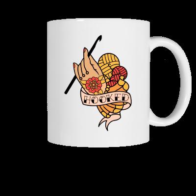 Hooked flash tattoo Pink Sheep Design Merch, a white ceramic coffee mug
