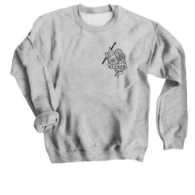 Hooked Outline Pink Sheep Design Merch, a Sport Grey Crewneck Sweatshirt
