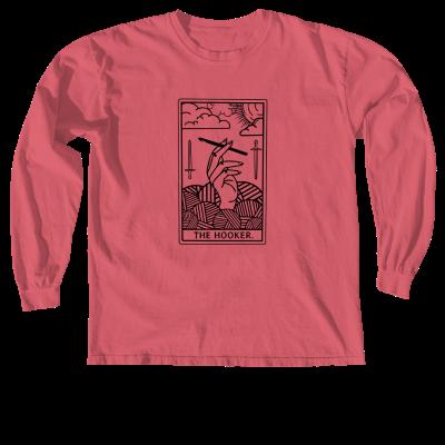 The Hooker Tarot Outline Pink Sheep Design Merch, a crismon Comfort Colors Long Sleeve Tee
