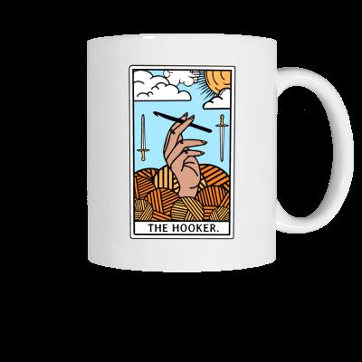 The Hooker Tarot Pink Sheep Design Merch, a white ceramic coffee mug