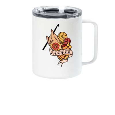 Hooked Pink Sheep Design Merch, a white travel coffee mug