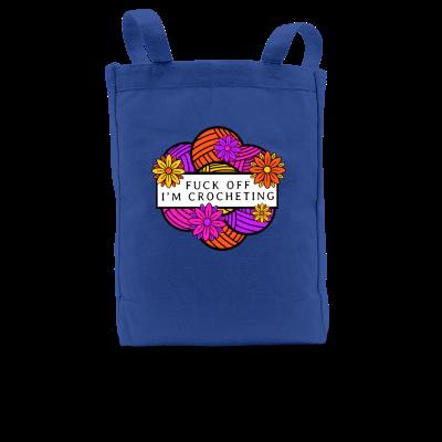 F-Off I'm Crocheting Pink Sheep Design Merch, a royal blue Premium Tote Bag