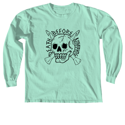 Death Before Knitting Pink Sheep Design Merch, a Island Reef Comfort Colors Long Sleeve Unisex Tee