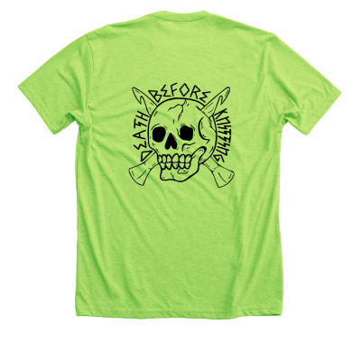 Death Before Knitting Pink Sheep Design Merch, a heather neon green Premium Unisex tee