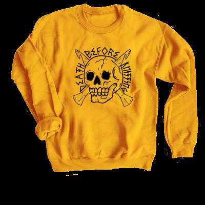 Death Before Knitting Pink Sheep Design Merch, a Gold Crewneck Sweatshirt