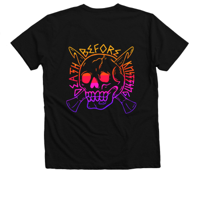 Death Before Knitting Color Pink Sheep Design Merch, a black V-Neck Tee