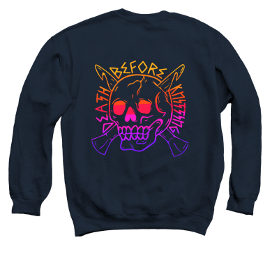 Death Before Knitting Color Pink Sheep Design Merch, a Navy Crewneck Sweatshirt
