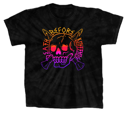 Death Before Knitting Color Pink Sheep Design Merch, a black Tie Dye Tee