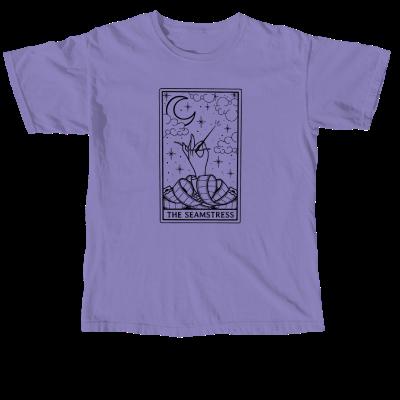 The Seamstress Tarot Pink Sheep Design Merch, a Violet Comfort Colors Unisex Tee