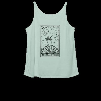 The Seamstress Tarot Pink Sheep Design Merch, a dusty blue Women's Slouchy Tank