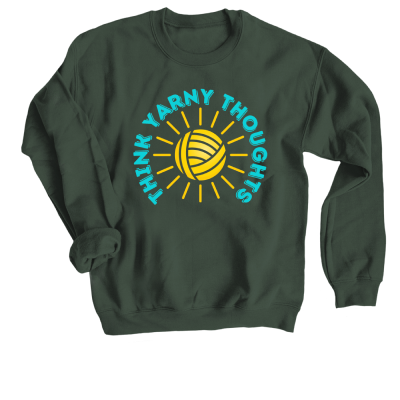 Think Yarny Thoughts Pink Sheep Design Merch, a forest green Crewneck Sweatshirt