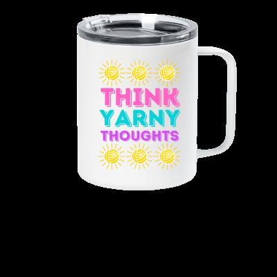 Think Yarny Thoughts Pink Sheep Design Merch, a white travel mug