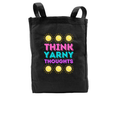 Think Yarny Thoughts Pink Sheep Design Merch, a black Tote Bag