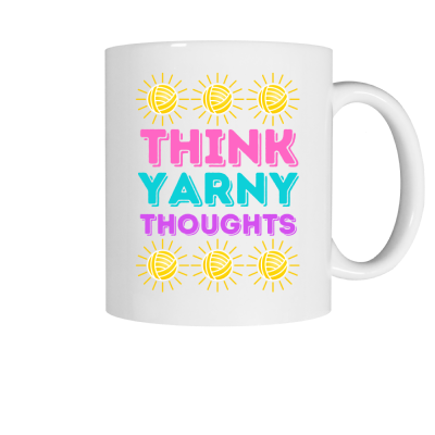 Think Yarny Thoughts Pink Sheep Design Merch, a white ceramic coffee mug