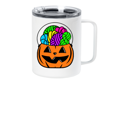 Orange Forget the Candy Pink Sheep Design Merch, a white travel coffee mug