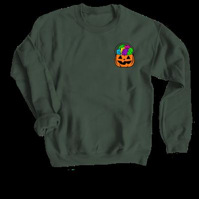 Orange Forget the Candy Pink Sheep Design Merch, a forest green Crewneck Sweatshirt