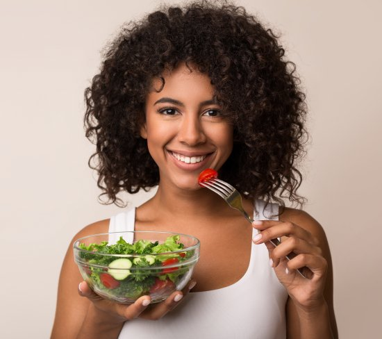 Woman eating healthy diet consultation