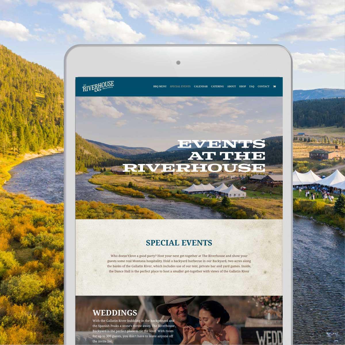 Riverhouse homepage mockup on an ipad