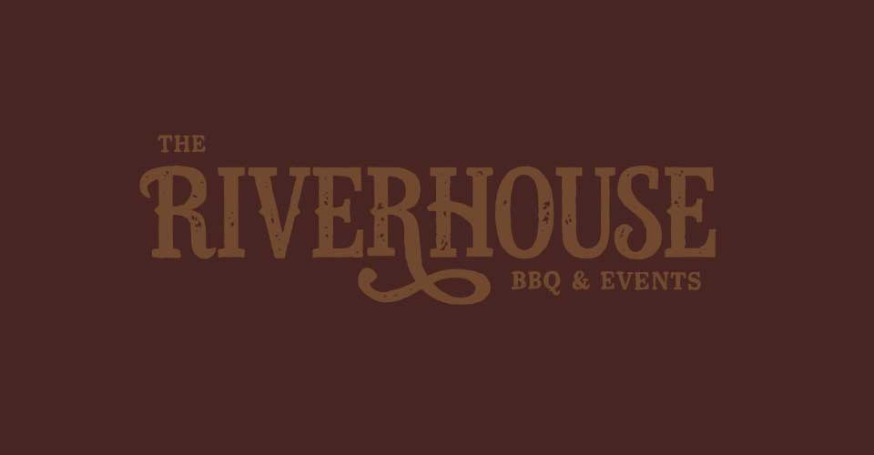 low-contrast Riverhouse logo on brown background