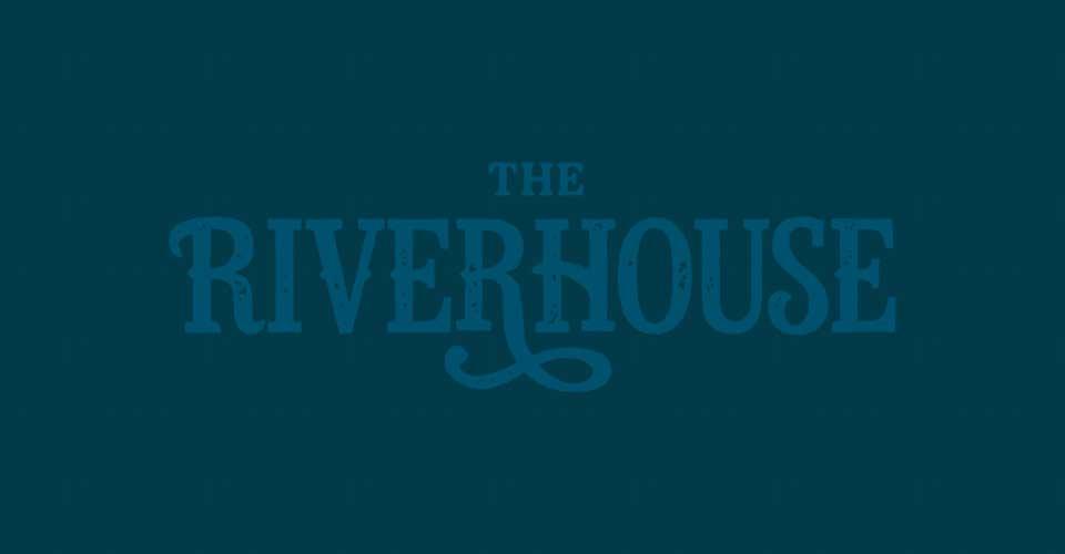 low-contrast Riverhouse logo on blue background