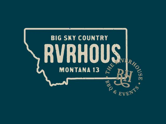 Riverhouse Montana drivers license branded artwork with logo seal
