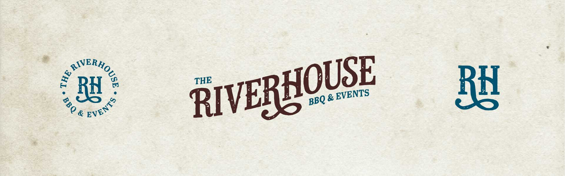 three versions of the Riverhouse logo side-by-side