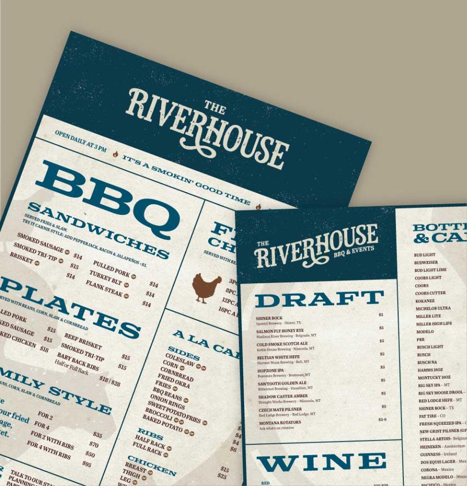 Riverhouse BBQ menu designs