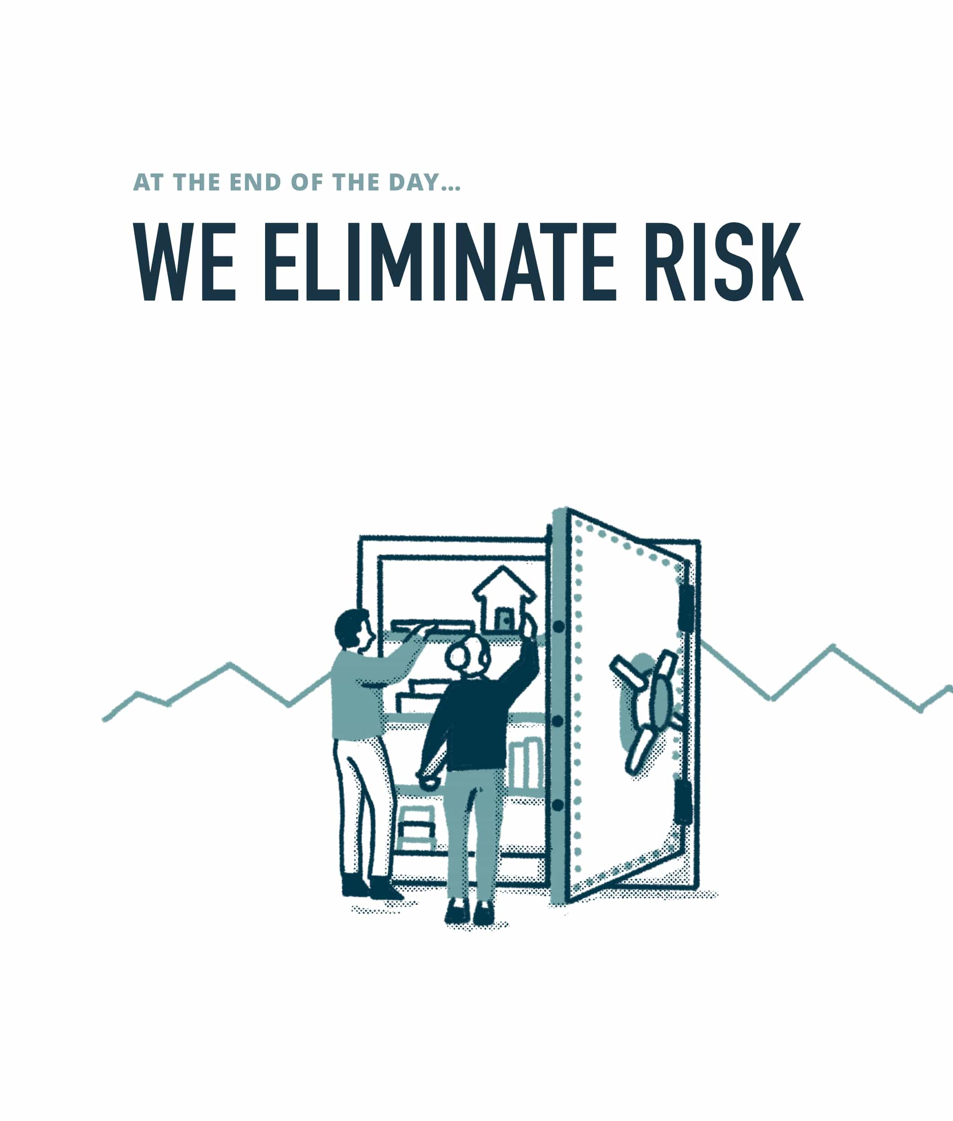 """Image with the headline """"we eliminate risk"""" above an illustration of two people putting items into a giant safe"""