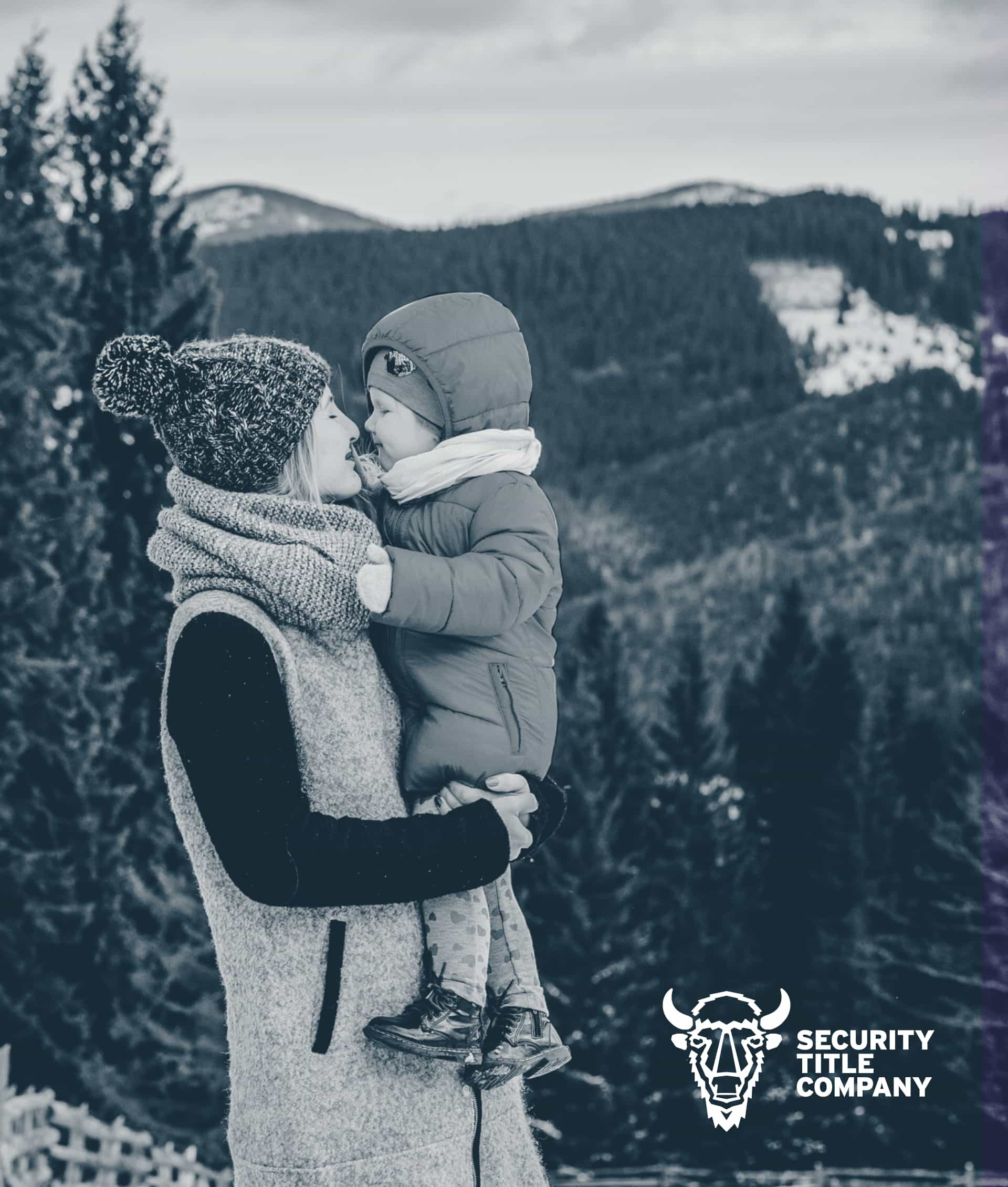 An image of a mother and child with the Security Title Co logo in the corner