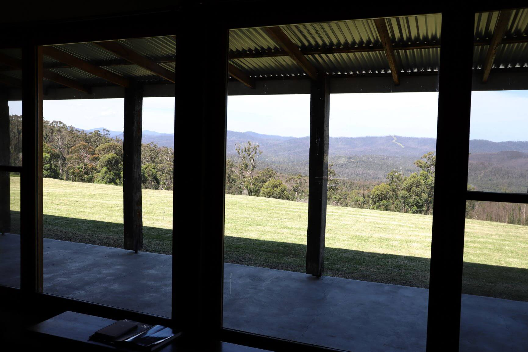 Looking out of the house into the valley